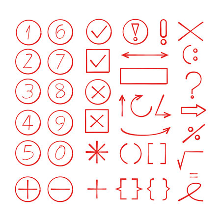 Red hand drawn number and math signs Vectores