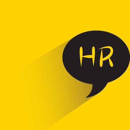 HR, humanresource in speech bubble yellow background 일러스트