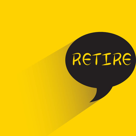 Retire in speech bubble yellow background Ilustração