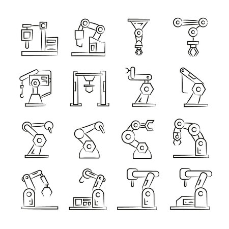 robotic arm icons, sketch line design Vettoriali
