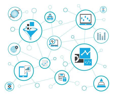 Data analytics and network diagram in white background. Illustration