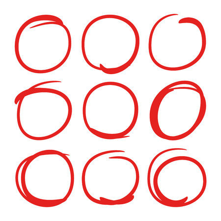 red hand drawn circle markers