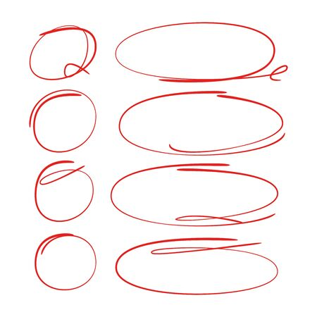 Set of red simple hand drawn circle markers
