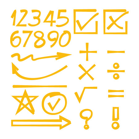yellow math sign, number and arrows