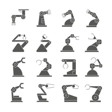 industrial robot icons, black design