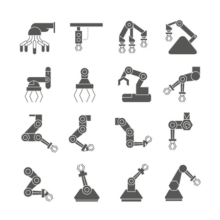 industrial robot icons, black design