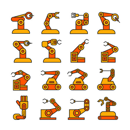 robotic arm  icons, filled color design