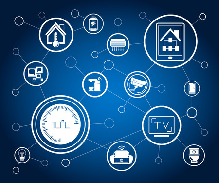 smart home and home automation conecpt network in blue background