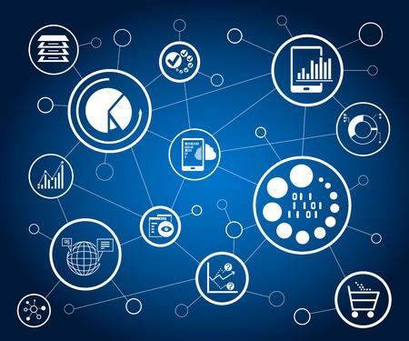 data analytics and network Vektoros illusztráció