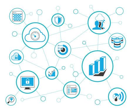 Network and communication diagram Illustration