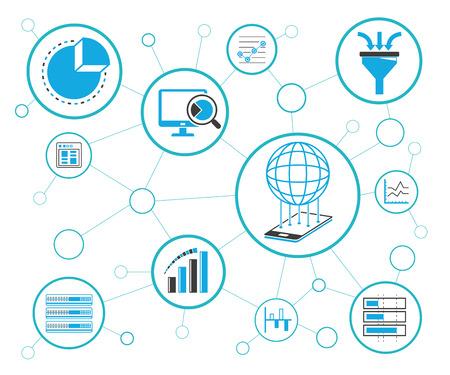 Network and communication diagram Ilustração