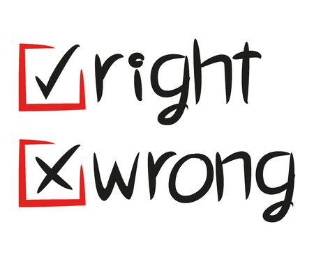 right and wrong check marks Illustration