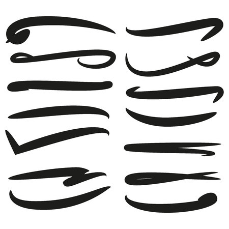 collection of hand drawn lines, brush lines Illustration