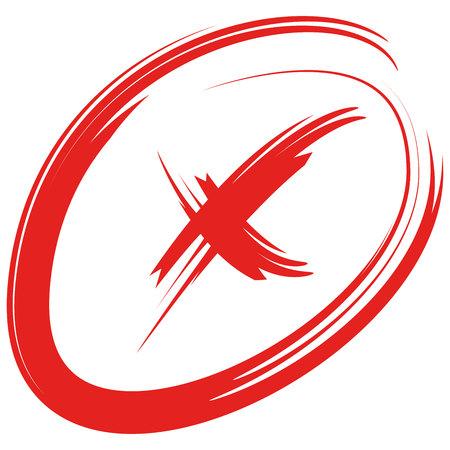 marca roja incorrecta, signo de cruz Ilustración de vector