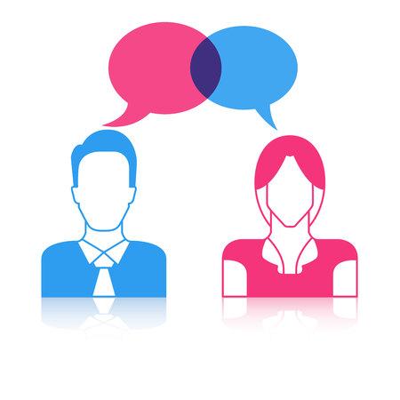 men and women couple with speech bubbles, communication concept Ilustrace