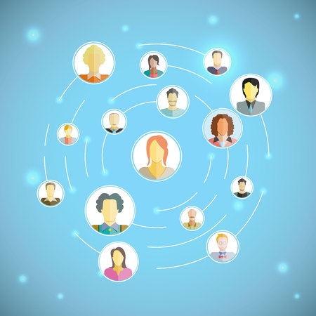 connecting people,  social network concept Vectores