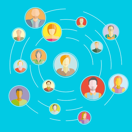 social network, people network and communication concept blue background