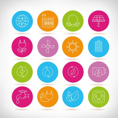 renewable energy icons, outline design