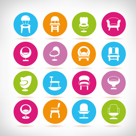sofa and chair icons Stock Illustratie