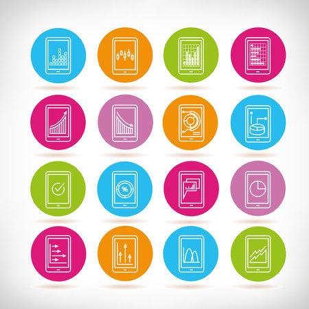 mobile and data analytics icons Illustration