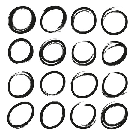vector set of sketched circles Ilustrace