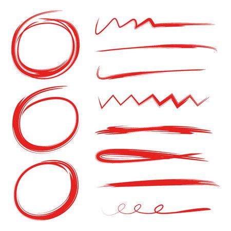 markeerstiftcirkels, abstract doodle-schrijfontwerp, penseellijnen