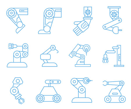 robotic arm icons, blue outline icons Vettoriali