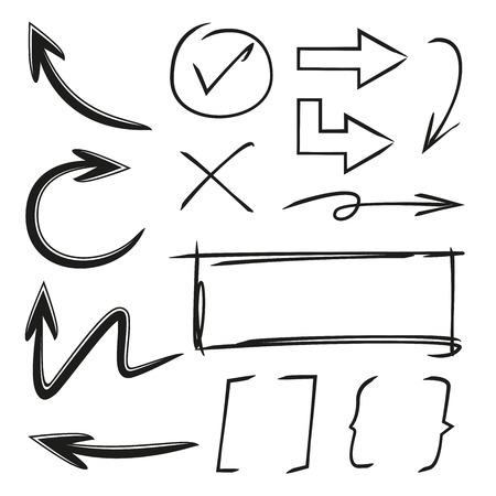 Häkchen, Pfeile und Markierungen