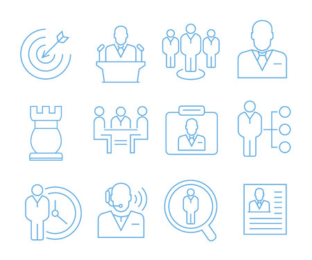 business management icons, outline icons