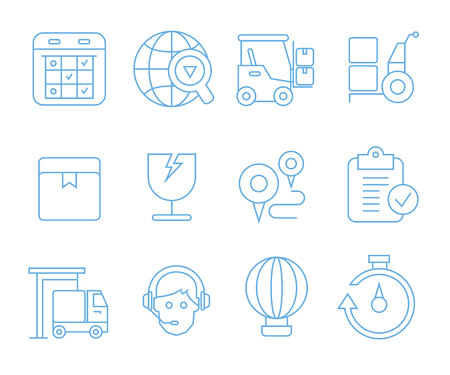 logistics, shipping and cargo icons