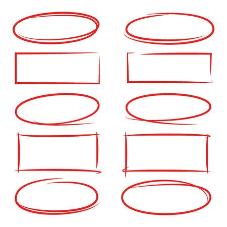 手描きの長方形と円フレーム