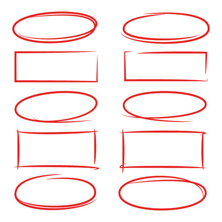Hand drawn rectangle and circle frames