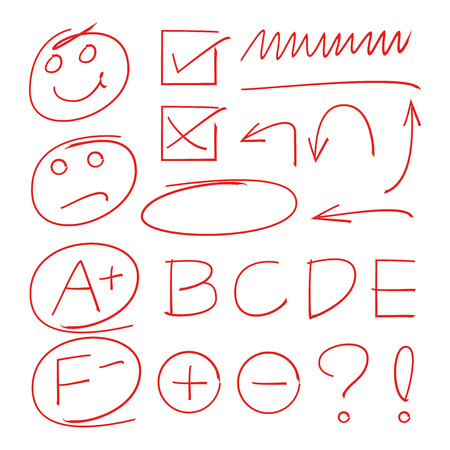 grade results, arrows, check marks