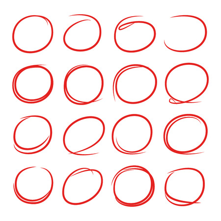 Red hand drawn oval markers, highlighter set Illustration