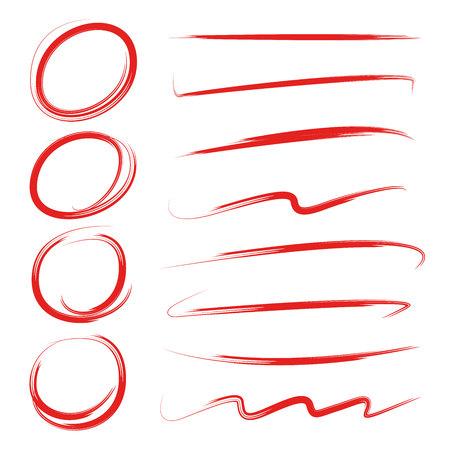 cerchi evidenziatori, disegno astratto di scrittura doodle, linee di pennello