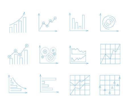 data analysis icons, graph and chart icons