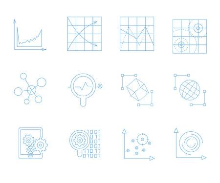 icônes d'analyse de données, icônes de graphique et de graphique