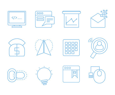 web and seo icons set for web and mobile UI Illustration
