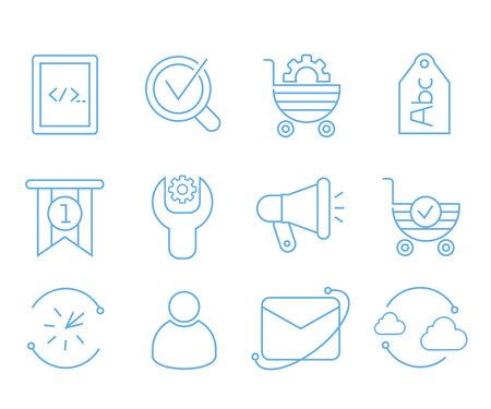 seo icons set web and mobile UI Illustration