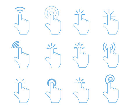 Touch pad gestures icons, hand pointer icons, click icons