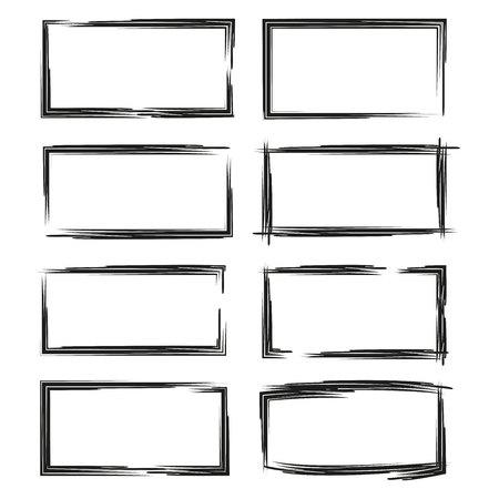 black grunge frame set Illustration