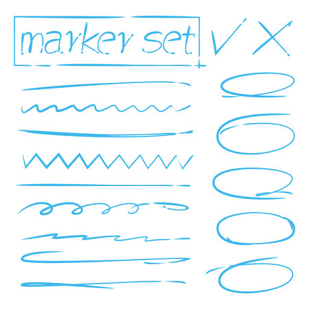 blue hand drawn underlines, circles for marking text
