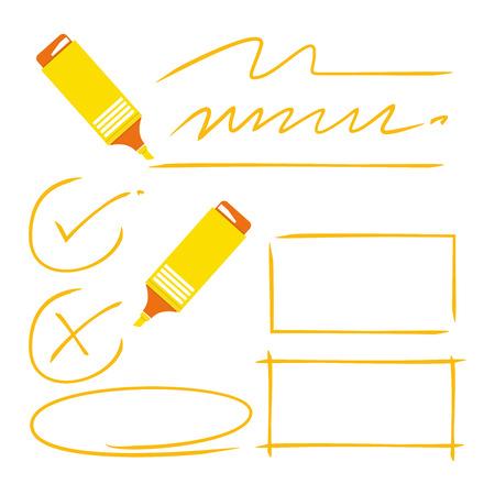 yellow highlighter, tick marks, rectangle frame Vektoros illusztráció