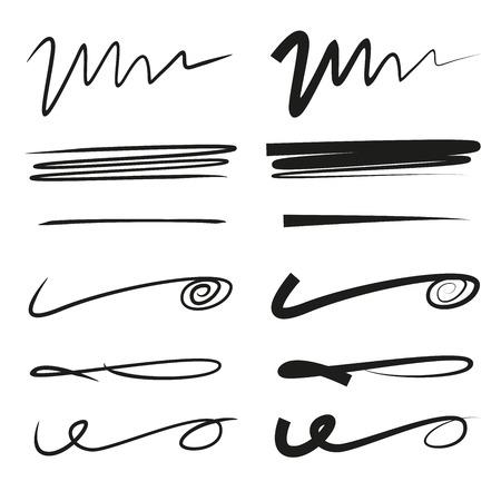 subraya el conjunto de líneas de letras, línea de pincel Ilustración de vector