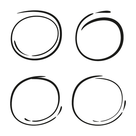 vector set of sketched circles Illustration