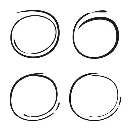 vector set of sketched circles Ilustração