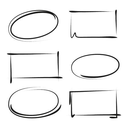 hand drawn circle shapes, rectangle shapes