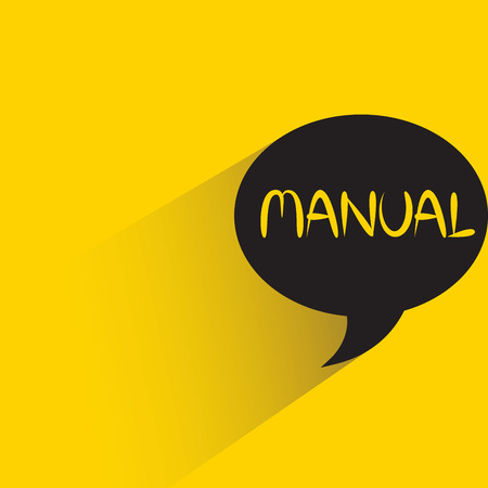 manual sign isolated on yellow