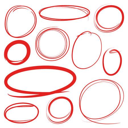 éléments de marqueur de cercles rouges et ovales Vecteurs