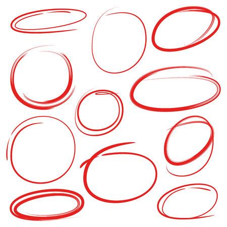 red circles and ovals marker elements Stock Vector - 110773636
